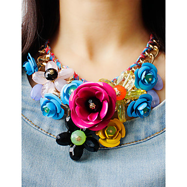 cheap Party Accessories-Women's Multicolor Statement Necklace Bib necklace Braided Bib Flower Ladies Luxury Chunky Color Synthetic Gemstones Alloy Green Pink Rainbow Necklace Jewelry 1pc For Party Special Occasion Birthday