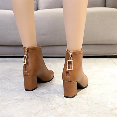 Femme Fashion Boots Polyuréthane Hiver Bottes Talon Bottier Bout carré carré carré Bottine / Demi Botte Noir / Marron 7e2be2