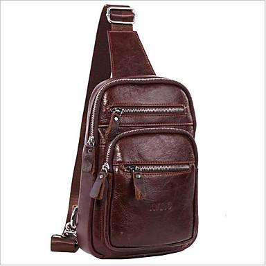 0e1c29ac45c9 Men s Bags Cowhide Sling Shoulder Bag Zipper Brown   Dark Brown