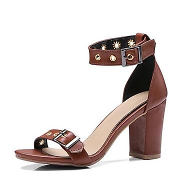 ieftine Sandale de Damă-Pentru femei Pantofi de confort PU Primăvară Sandale Toc Îndesat Negru / Migdală / Maro Deschis