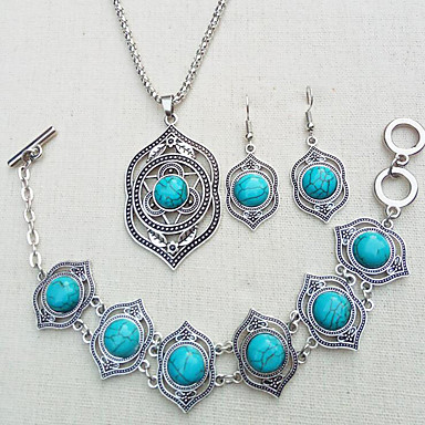 Žene Tirkiz Svadbeni nakit Setovi Vintage Style Stilski Etnikai Naušnice Jewelry Zelen / Plava Za Vjenčanje Party
