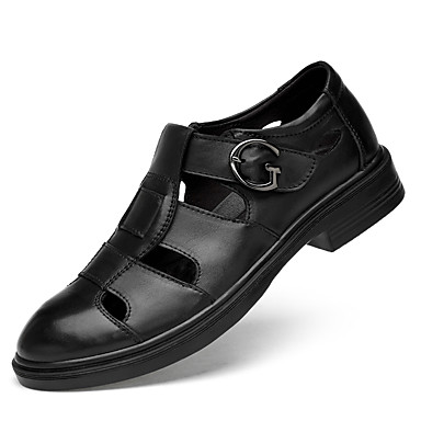 Herre Læder sko Nappalæder Sommer Vintage / Afslappet Sandaler Åndbart Sort