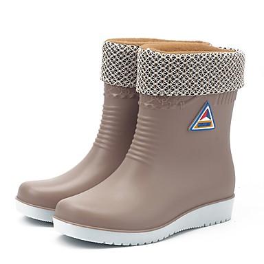 voordelige Dameslaarzen-Dames Laarzen Regenlaarzen Platte hak Ronde Teen Polyester / PVC Kuitlaarzen Informeel Herfst winter Zwart / Wijn / Blauw / EU39