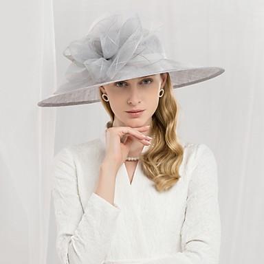 billige Hodeplagg til fest-100% Lintøy Kentucky Derby Hat / Hatter med Blomster 1pc Bryllup / Fest / aften Hodeplagg