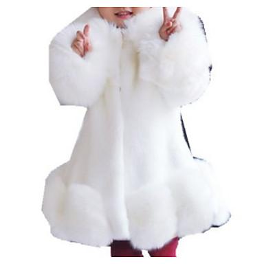 رخيصةأون معاطف و سترات البنات-بدلة وسترة فرو كم طويل لون سادة أساسي للفتيات أطفال
