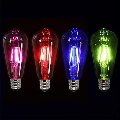 preiswerte Leuchtbirnen-4pcs 4 W LED Glühlampen 360 lm E26 / E27 ST64 4 LED-Perlen COB Party Dekorativ Urlaub Rot Blau Grün 220-240 V / RoHs