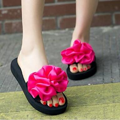 Per Donna Scarpe Comfort Pu (poliuretano) Primavera Sandali Piatto Nero - Blu - Rosa #06955847 Estremamente Efficiente Nel Preservare Il Calore