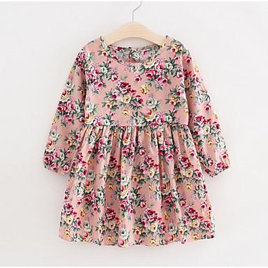 baratos Vestidos para Meninas-Infantil Para Meninas Básico Rosa empoeirada Floral Manga Longa Vestido Rosa