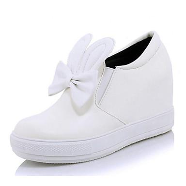 225d6721d Mulheres Sapatos Confortáveis Couro Ecológico Inverno Tênis Salto  Plataforma Dedo Fechado Branco   Preto   Prata