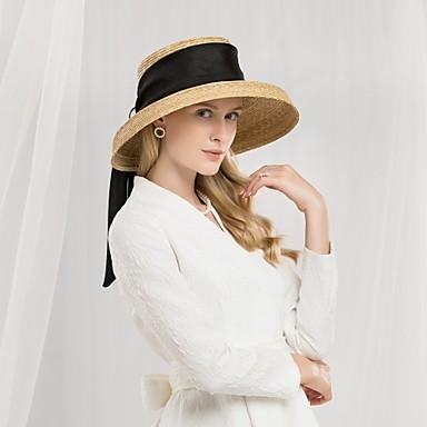 billige Hodeplagg til fest-Naturlig Fiber Kentucky Derby Hat / Hatter med Bånd 1pc Avslappet / Dagligdagstøy Hodeplagg