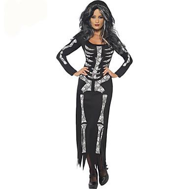 Skeleton / Lubanja Odrasli Žene Halloween Halloween Maškare Festival / Praznik Terilen Crn Žene Karneval kostime Cool lubanje