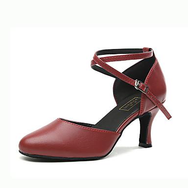 baratos Shall We® Sapatos de Dança-Mulheres Pele Napa Sapatos de Dança Moderna Presilha Salto Salto Carretel Dourado / Prata / Vermelho Escuro / Espetáculo / Ensaio / Prática