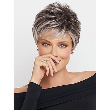 ieftine Frumusețe & Păr-Peruci Sintetice Ondulee Naturale Kardashian Stil Frizură Pixie Fără calotă Perucă Ombre  Negru / Alb Păr Sintetic 8 inch Pentru femei Linia naturală de păr Ombre  Perucă Lungime medie MAYSU