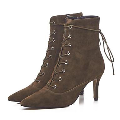 3559a740663c5 ... Femme Fashion Boots Daim   Peau de mouton Eté Bottes Bottes Eté Talon  Aiguille Bout fermé ...