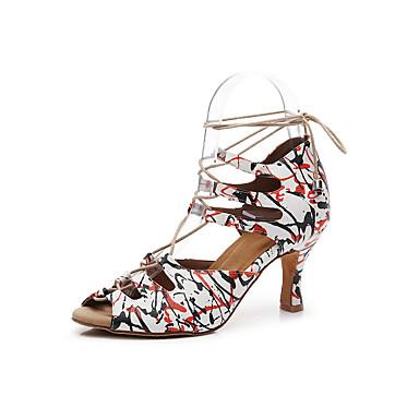 baratos Shall We® Sapatos de Dança-Mulheres Couro Ecológico Sapatos de Dança Latina Pétala Sandália Salto Alto Magro Personalizável Vermelh / Branco / Ensaio / Prática
