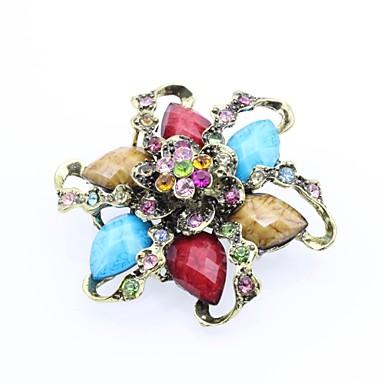 billiga Nålar och broscher-Dam Broscher Klassisk Blomma Mode Elegant Resin Brosch Smycken Blå Röd / Blå Till Datum Street