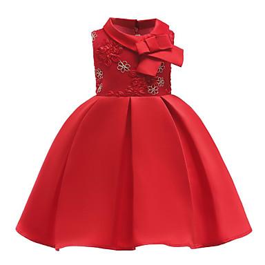 رخيصةأون ملابس الأميرات-فستان ميدي بدون كم شريطة / شبكة / طباعة ورد مناسب للعطلات / مناسب للخارج رياضي Active / حلو للفتيات أطفال / قطن