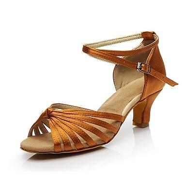 baratos Shall We® Sapatos de Dança-Mulheres Cetim Sapatos de Dança Latina Cadarço de Borracha Salto Salto Cubano Personalizável Dourado / Preto / Marron / Couro