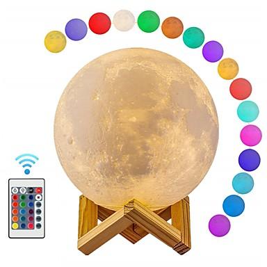 1kpl kuu maapallo 3d yövalo älykäs yövalo rgb + valkoinen usb kauko-ohjattu himmennettävä koristelu 5 v