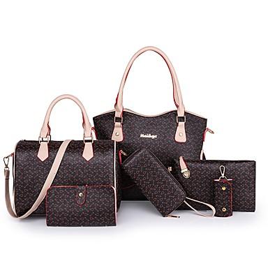 Žene Patent-zatvarač PU Bag Setovi Kompleti za vrećice Geometrijski uzorak 6 kom Crn / Braon / Obala / Jesen zima