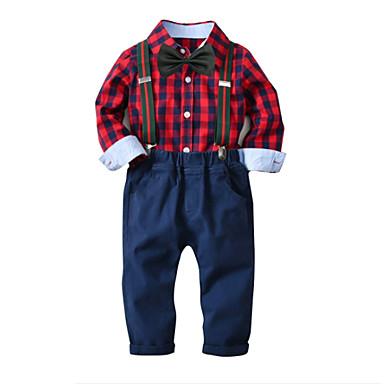 cheap Boys' Clothing Sets-Kids Boys' Shirt & Pants Clothing Set Long Sleeve Red Houndstooth Christmas Cotton Basic