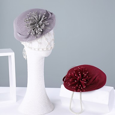 100% vuna Kentucky Derby Hat / kape s Kristalni detalji 1pc Kauzalni / Dnevni Nosite Glava