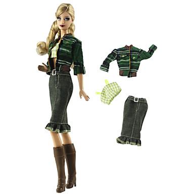 Dodaci za lutke Odjeća za lutke Hlače s lutkama Casual Lolita Dva dijela Za Barbie Moda Vojska Green Nonwoven Fabric Tkanina Pamučne tkanine Kaput / Top / Hlače Za Djevojka je Doll igračkama