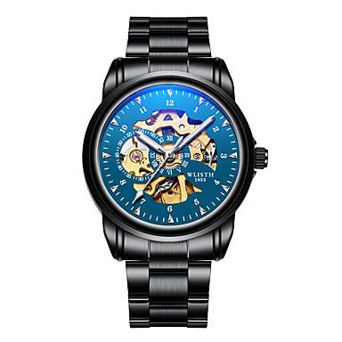 baratos Relógios Homem-Homens Relógio Esqueleto Relógio de Pulso relógio mecânico Japanês Automático - da corda automáticamente Aço Inoxidável Preta 30 m Impermeável Cronógrafo Novo Design Analógico Luxo Rígida - Azul