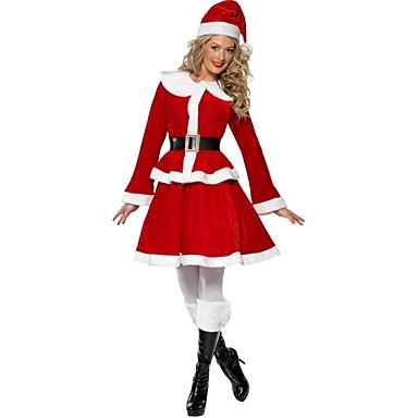 サンタクロース 女性用 成人 高校 ハロウィーン クリスマス クリスマス ハロウィーン カーニバル イベント/ホリデー ポリスター セット ルビーレッド ソリッド クリスマス