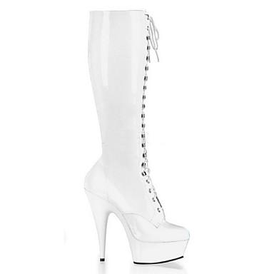 Žene PU Zima Klasik Čizme Stiletto potpetica Okrugli Toe Čizme do koljena Kopča Crn / Sive boje / Crvena / Zabava i večer