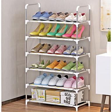 abordables Accessoires pour Chaussures-Cintre & Range Chaussures Tissus non-tissés 6 niveaux Unisexe Blanc / Argent