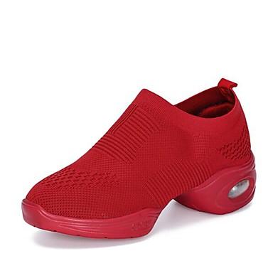 Žene Plesne cipele Pletivo Plesne tenisice Tenisice Debela peta Moguće personalizirati Obala / Crn / Crvena / Seksi blagdanski kostimi / Vježbanje