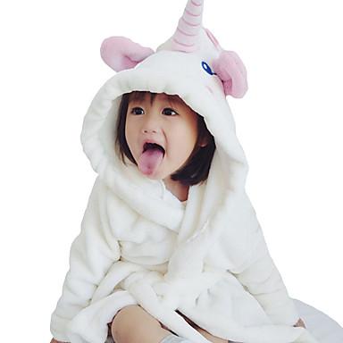 baratos Lingerie & Meias para Meninas-5 Peças Infantil Bébé Para Meninas Activo Básico Diário Sólido Cordões Manga Longa Longo Padrão Roupa de Dormir Branco