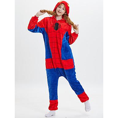 Adults' Kigurumi Pajamas Anime Spider Onesie Pajamas polyester fibre Red Cosplay For Men and Women Animal Sleepwear Cartoon Festival / Holiday Costumes