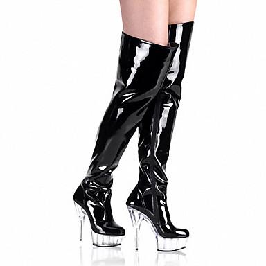 Damen Schuhe Lackleder Herbst / Winter Modische Stiefel / Leuchtende LED-Schuhe / Club-Schuhe Stiefel Stöckelabsatz / Plattform /