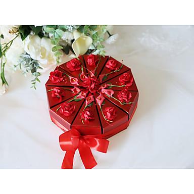 abordables Support de Cadeaux pour Invités-Rondes Comme Soie Satin / Papier d'art Titulaire de Faveur avec Motif / Impression / Ceinture / Ruban Boîtes à cadeaux / Boîtes Cadeaux - 10pcs