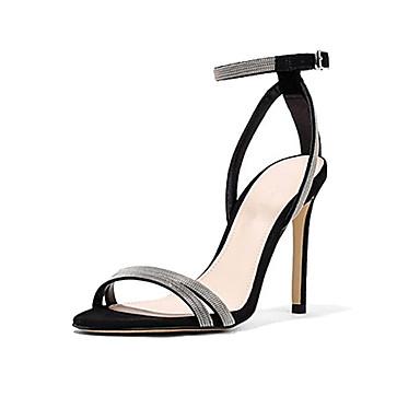 Žene PU Ljeto Udobne cipele Sandale Stiletto potpetica Otvoreno toe Kopča Crn / Bež
