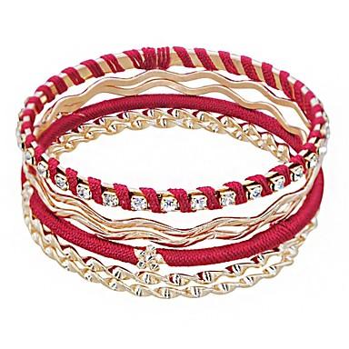 baratos Bangle-Mulheres Bracelete Multi Camadas Por sorte senhoras Europeu Étnico Cordão Pulseira de jóias Dourado Para Diário Feriado / Strass