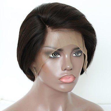 Unbehandeltes Haar Cabello Natural Remy Spitzenfront Perücke Stufenhaarschnitt Kurzer Bob Stil Brasilianisches Haar Natürlich gerade Perücke 130% Haardichte Weich Natürlich Natürlicher Haaransatz