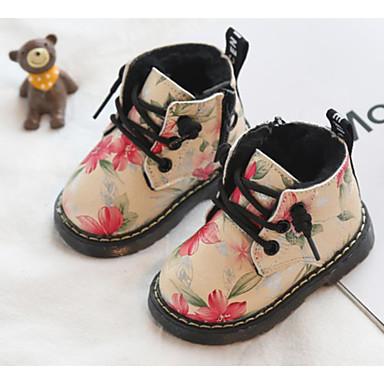 voordelige Babyschoenentjes-Meisjes Legerlaarzen Suède Laarzen Peuter (9m-4ys) Veters Zwart / Geel / Roze Winter / Korte laarsjes / Enkellaarsjes