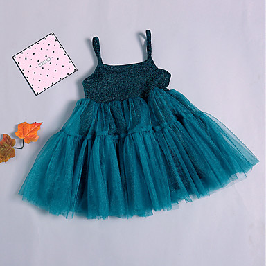 902fa138e286d Baby Girls' Basic / Street chic Christmas / Holiday / Going out Solid  Colored Sleeveless Midi Cotton Dress Green / Toddler