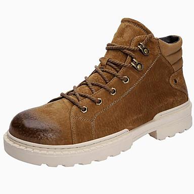 Herre Fashion Boots Ruskind Efterår vinter Sporty / Vintage Støvler Hold Varm Støvletter Sort / Gul / Kaffe