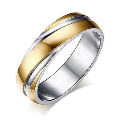 voordelige Dames Sieraden-Heren Bandring Groefringen 1pc Goud Titanium Staal Eenvoudig Lahja Feestdagen Sieraden Klassiek Tweekleurig