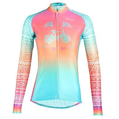 ILPALADINO Mujer Manga Larga Maillot de Ciclismo - Fucsia Flores / Botánica Bicicleta Top Resistente a los UV Deportes Invierno Elastán Ciclismo de Montaña Ciclismo de Pista Ropa