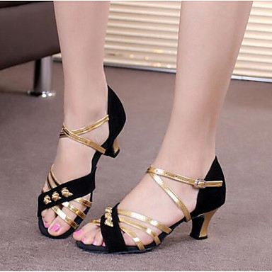 d5209dc62 نسائي أحذية رقص المواد التركيبية صندل كعب كوبي مخصص أحذية الرقص أسود وذهبي  / أسود وفضي