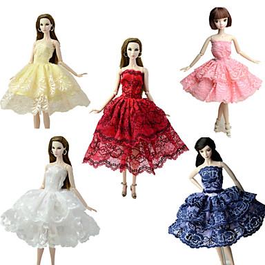 Fest / aften / Ballkjole Kjoler 5 pcs Til Barbiedukke Blonde / Satin Kjole Til Jentas Dukke