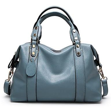 89823d965 نسائي أكياس البوليستر / PU حقيبة بيد علوية سحاب لون الصلبة أسود / أحمر /  رمادي