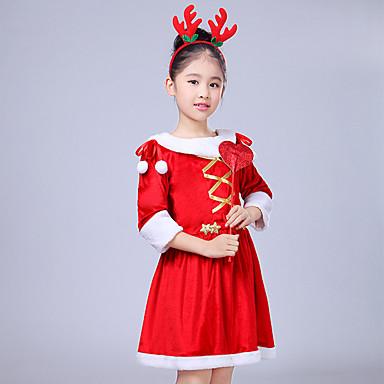 Cosplay Nošnje Santa Clothe Dječji Djevojčice Božić Božić New Year Festival / Praznik Vuna Red Karneval kostime Odmor