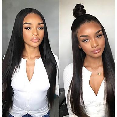 Remy kosa Full Lace Lace Front Perika Asimetrična frizura stil Brazilska kosa Ravan kroj Prirodno ravno Natural Crna Perika 130% 150% 180% Gustoća kose s dječjom kosom Nježno Žene Jednostavan