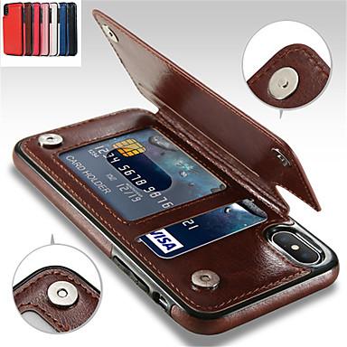 Custodia Per Apple iPhone XR / iPhone XS Max Porta-carte di credito / Con supporto Per retro Tinta unita Morbido pelle sintetica per iPhone XS / iPhone XR / iPhone XS Max